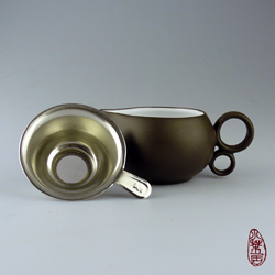 "Clay Pitcher ""Brown"" with Sieve"
