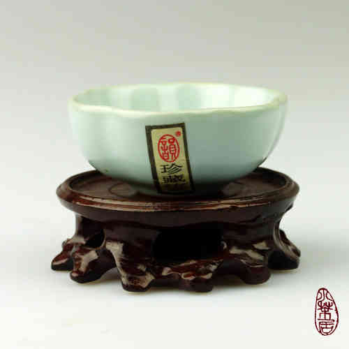 "Chinese Teacup ""Celadon Ruyao"" - Flower B"